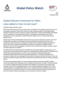 Cover Global Indicator Framework for SDGs: value added or time to start over? EN
