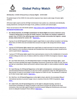 Cover UN Monitor: COVID-19 Round-Up on Human Rights – 20/04/2020